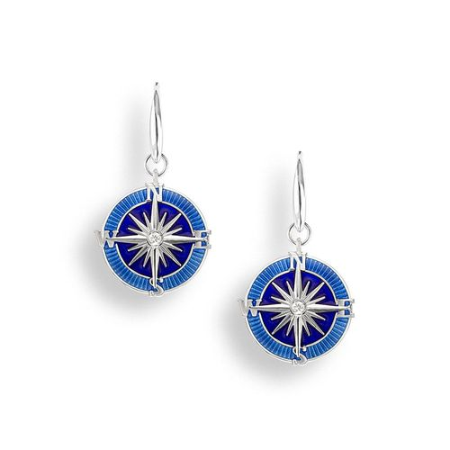 Sterling Silver Compass Rose with Blue Enamel