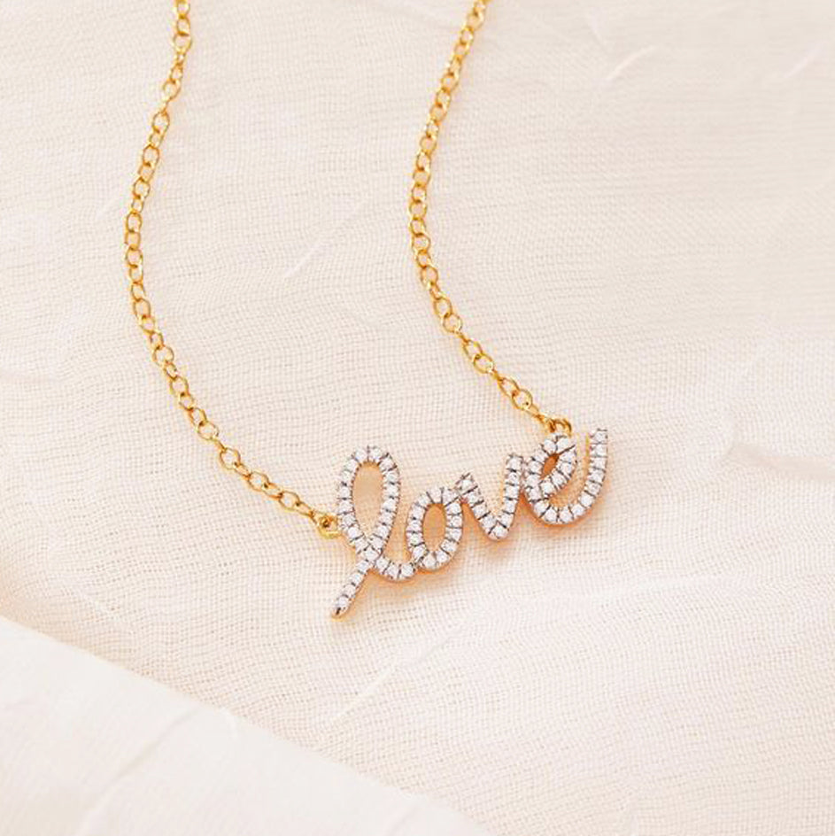 "Diamond ""Love"" Necklace in Sterling Silver"