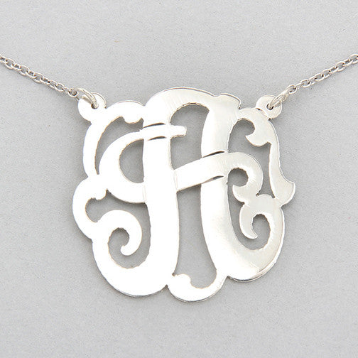 "Single Initial Sterling Silver 16"" Necklace"