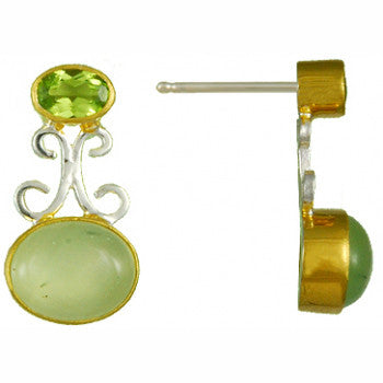 PERIDOT AND PREHNITE EARRINGS