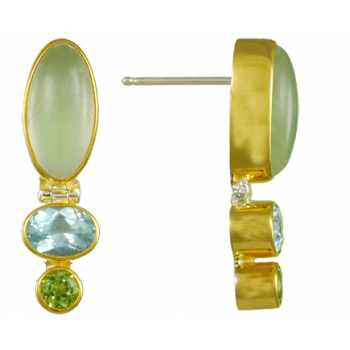 PREHNITE, BLUE TOPAZ, AND PERIDOT EARRINGS