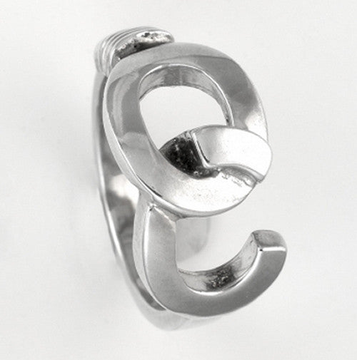 RHODIUM PLATED OC HOOK RING