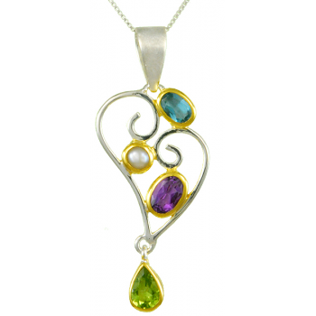 SILVER GEMSTONE HEART