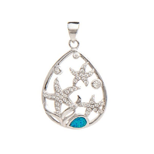 Sterling Silver Starfish & Opal Pendant