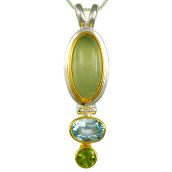 STERLING PENDANT WITH PREHNITE, BLUE TOPAZ, AND PERIDOT EARRINGS