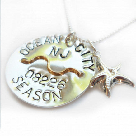 Ocean City Beach Tag Pendant and Necklace
