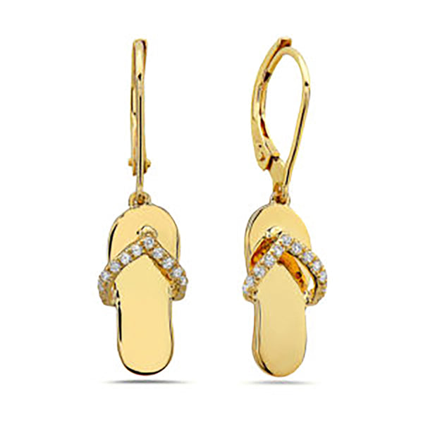 Yellow Gold Diamond Flipflop Earrings