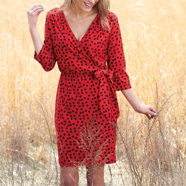 Drew Wrap Dress Red/Black