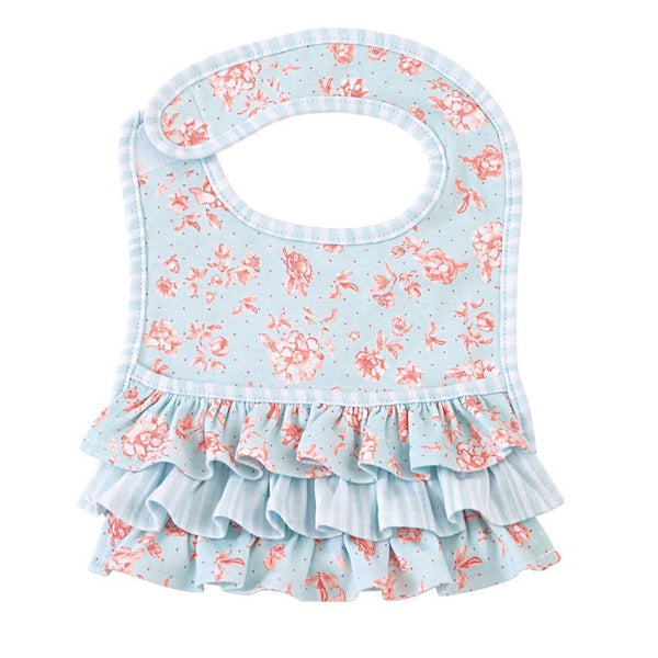 Blue Rose Ruffled Pocket Bib