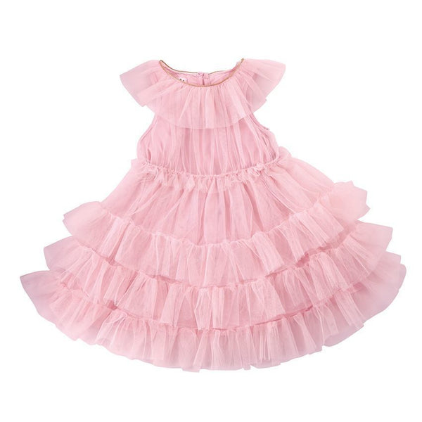 Mesh Tiered Dress-Blush