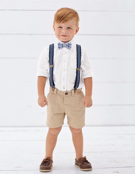 Chambray Bowtie Suspender Set