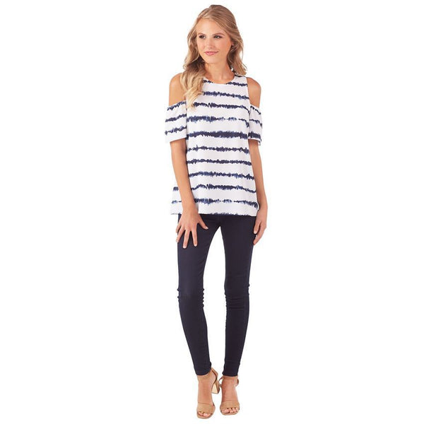 Lawson Cold Shoulder Top-Navy Vibes