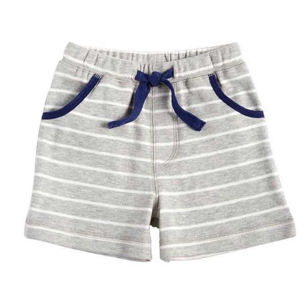 Gray Striped Pull On Shorts