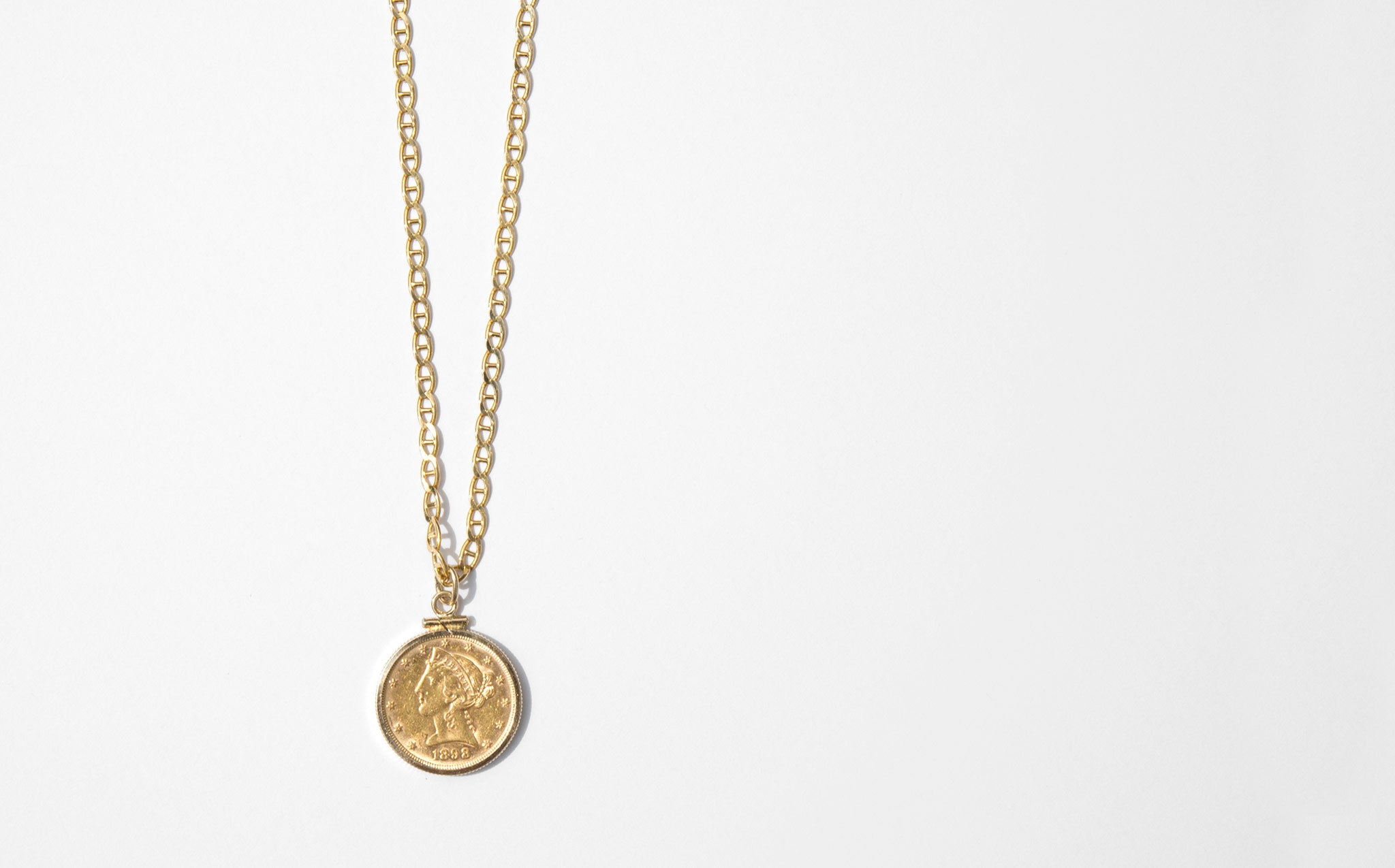 22K Gold Liberty Head Pendant Necklace