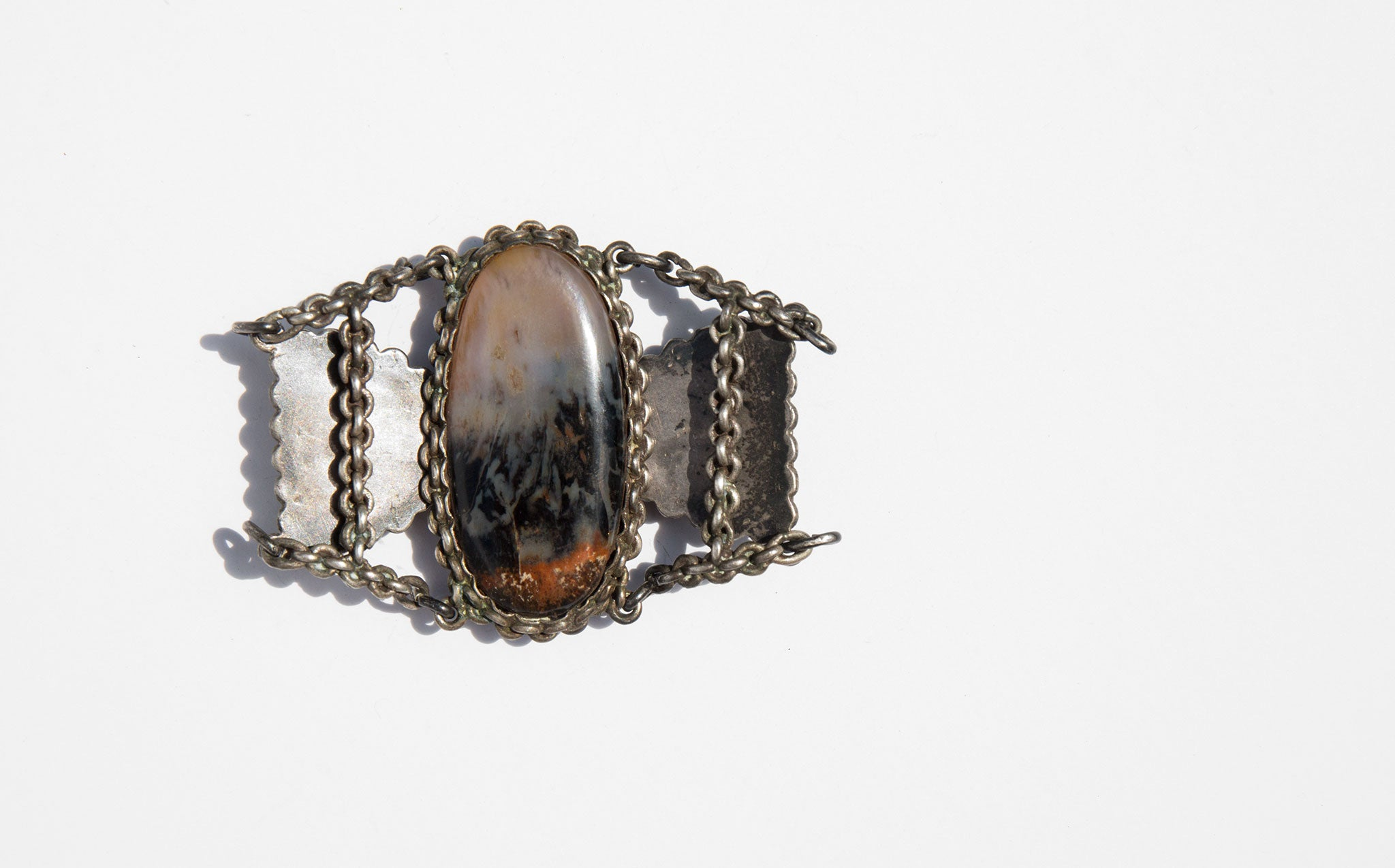 Agate and Sterling Cuff Bracelet
