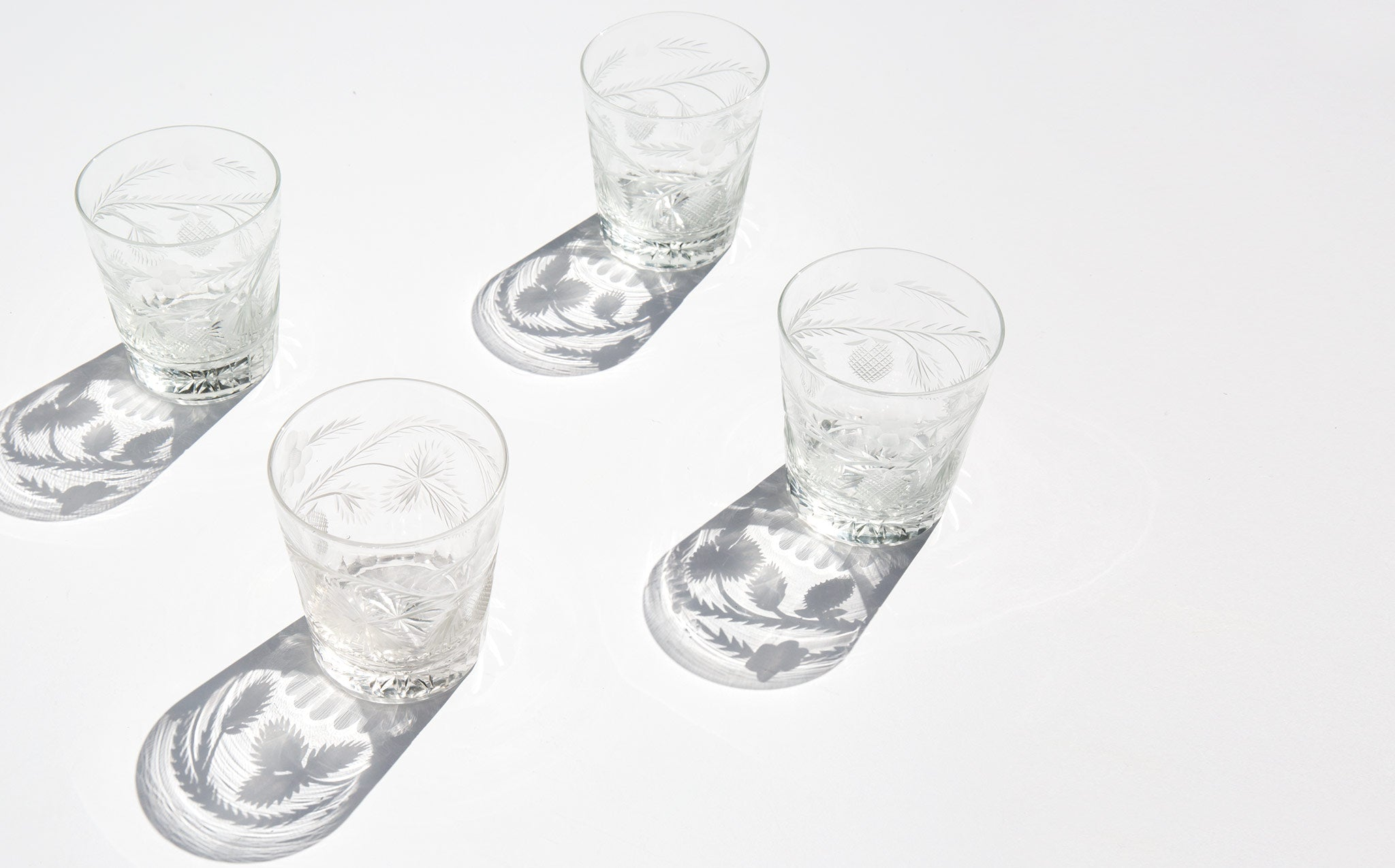 Etched Fruit and Flower Glasses