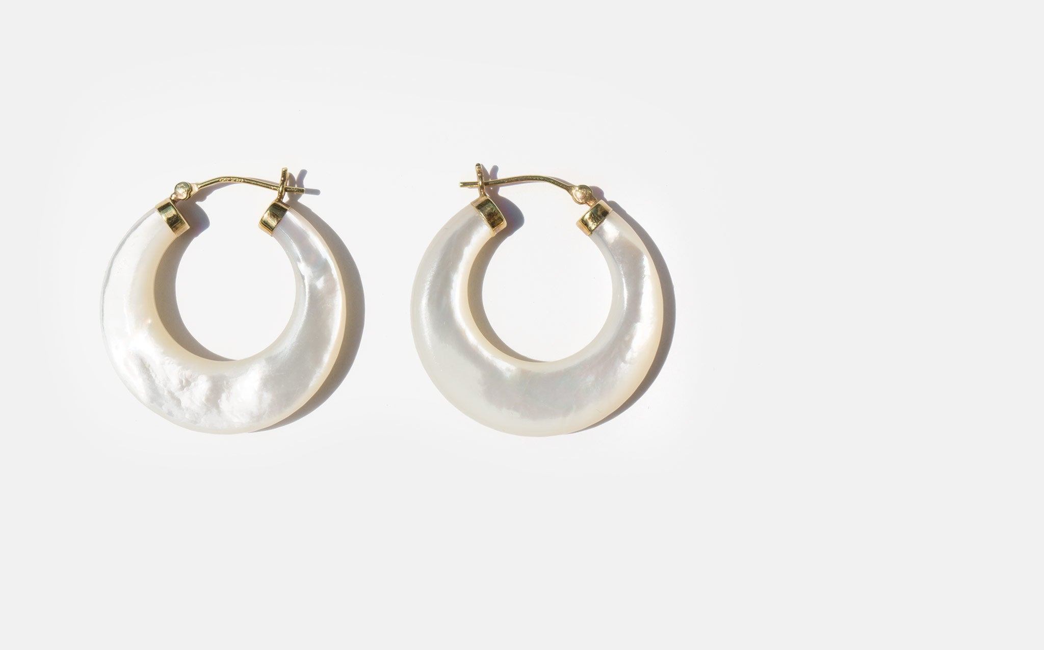 14K and Mother of Pearl Hoop Earrings
