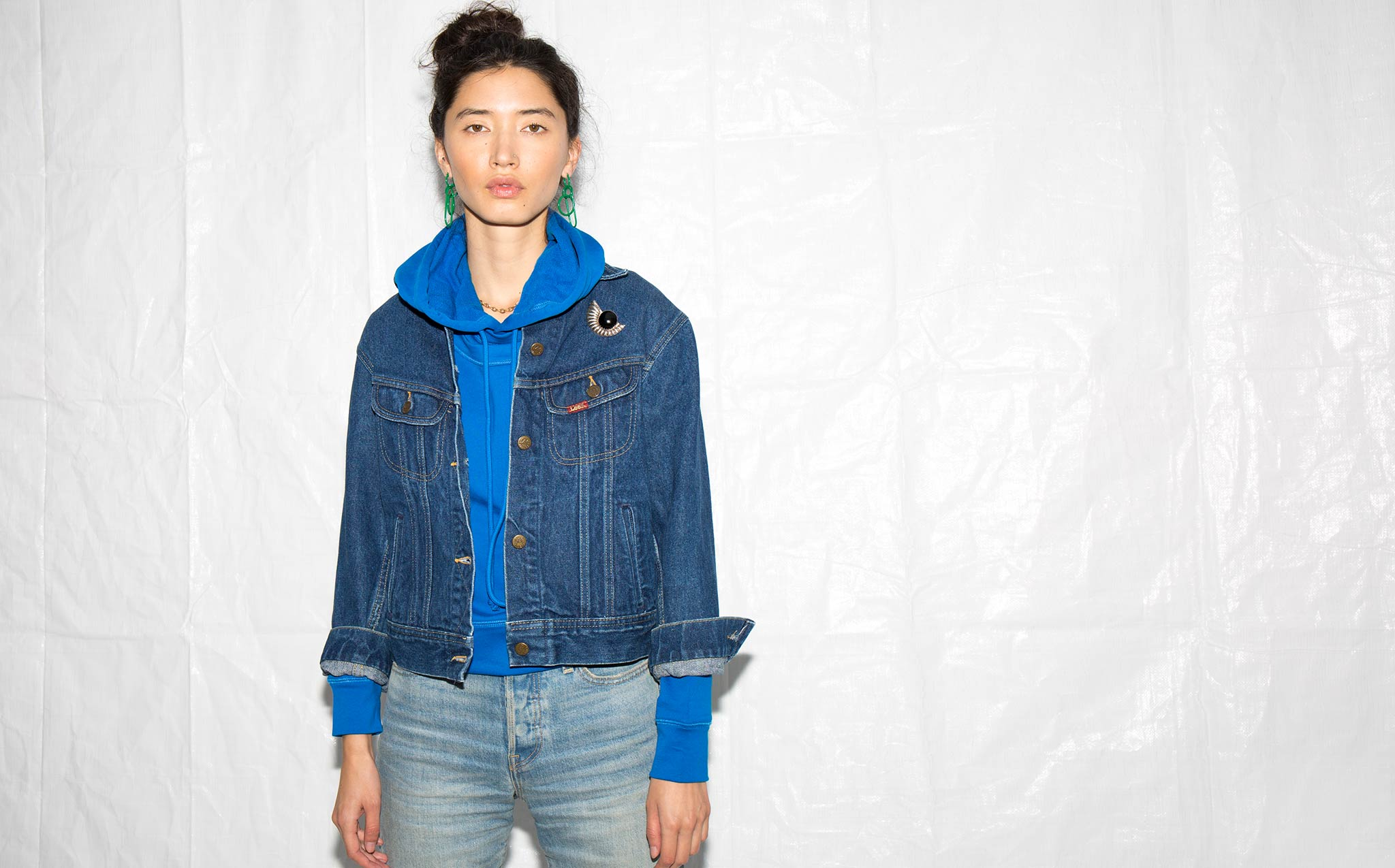 Vintage Lee Denim Jacket With Shell Pin