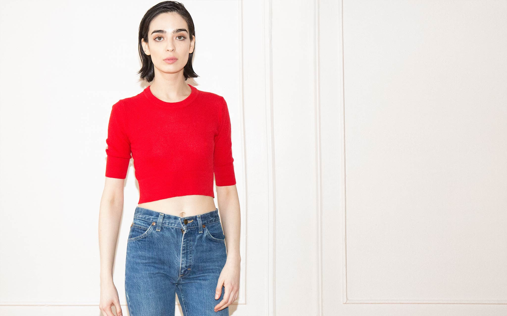 Hesperios Camille Poppy Red Crop Top