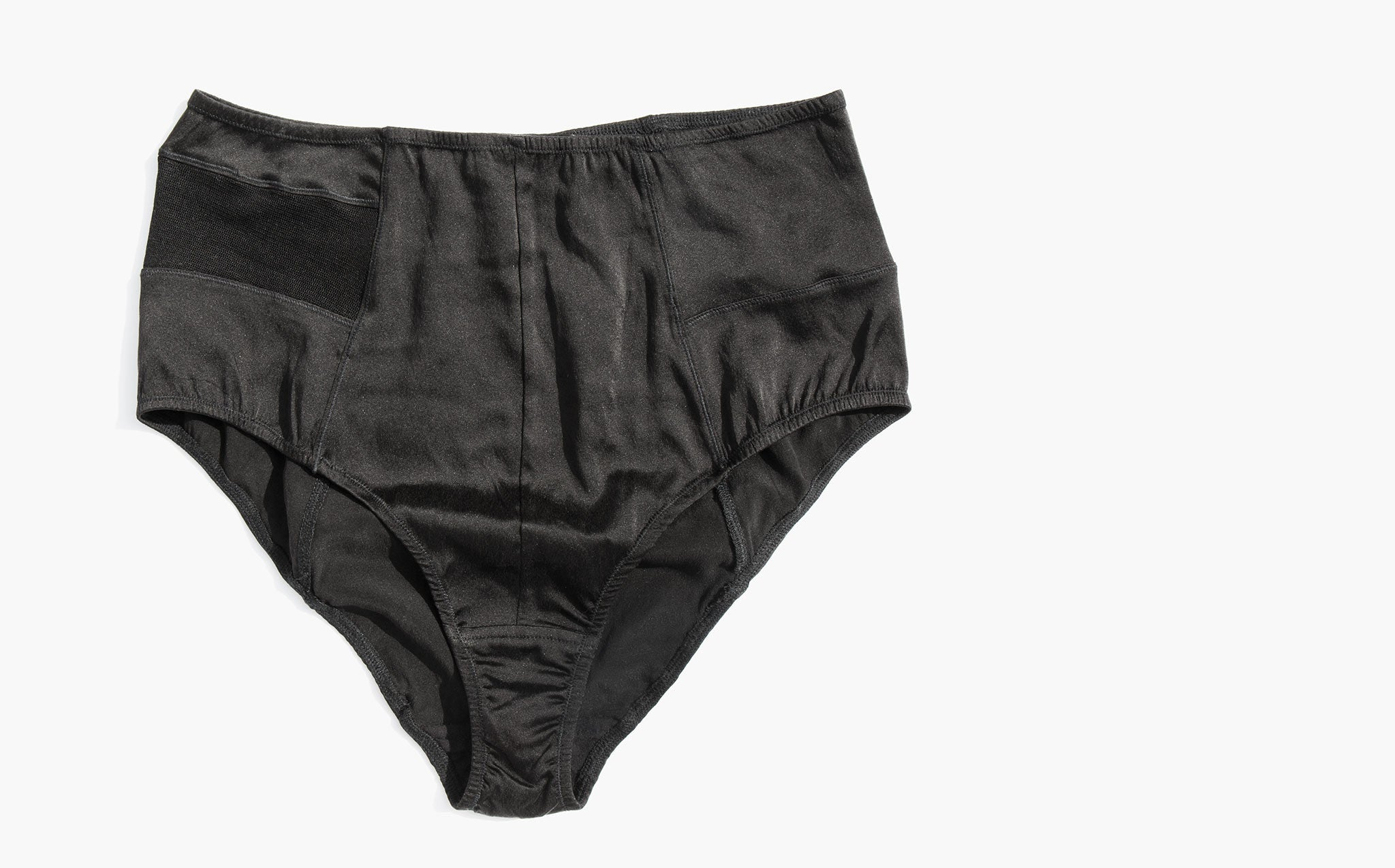 Kent Pow Black Silk and Mesh High Waisted Brief