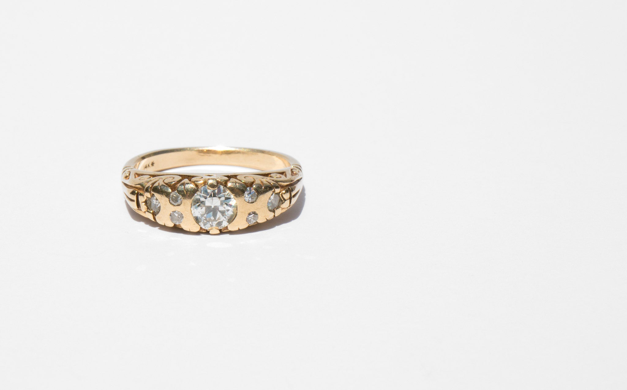 14k Greek Revival Gold and Diamond Ring