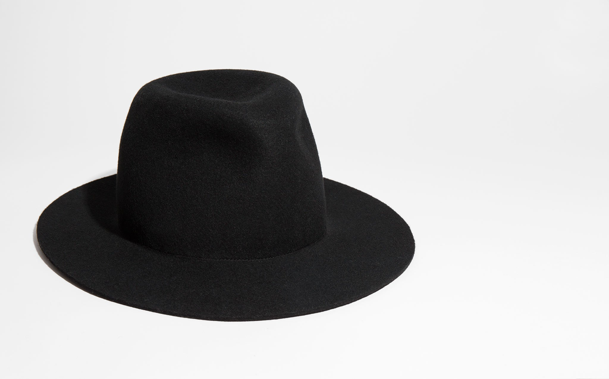 Clyde Black Wool Pinch Hat