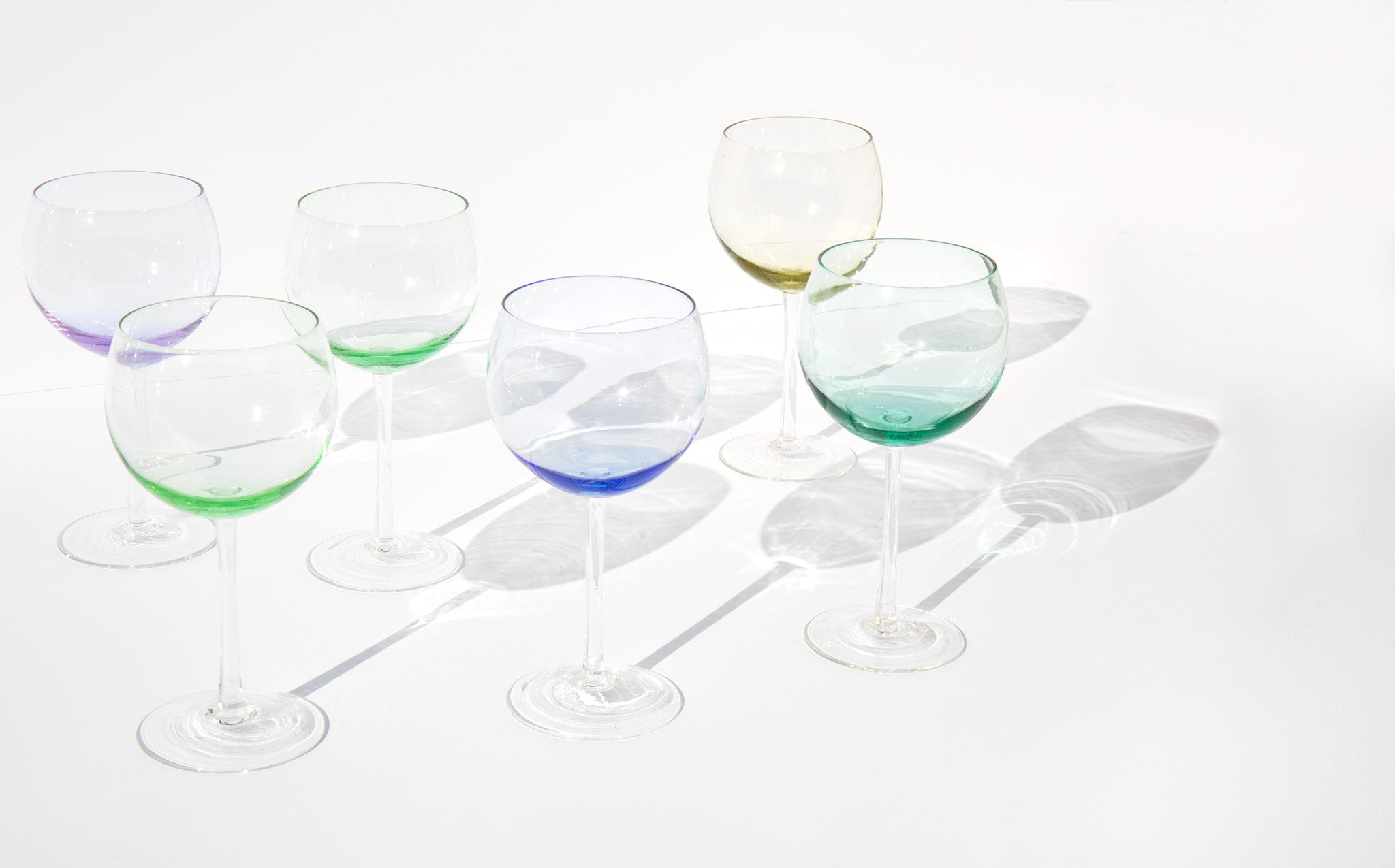 Pastel Tint Crystal Wine Glasses