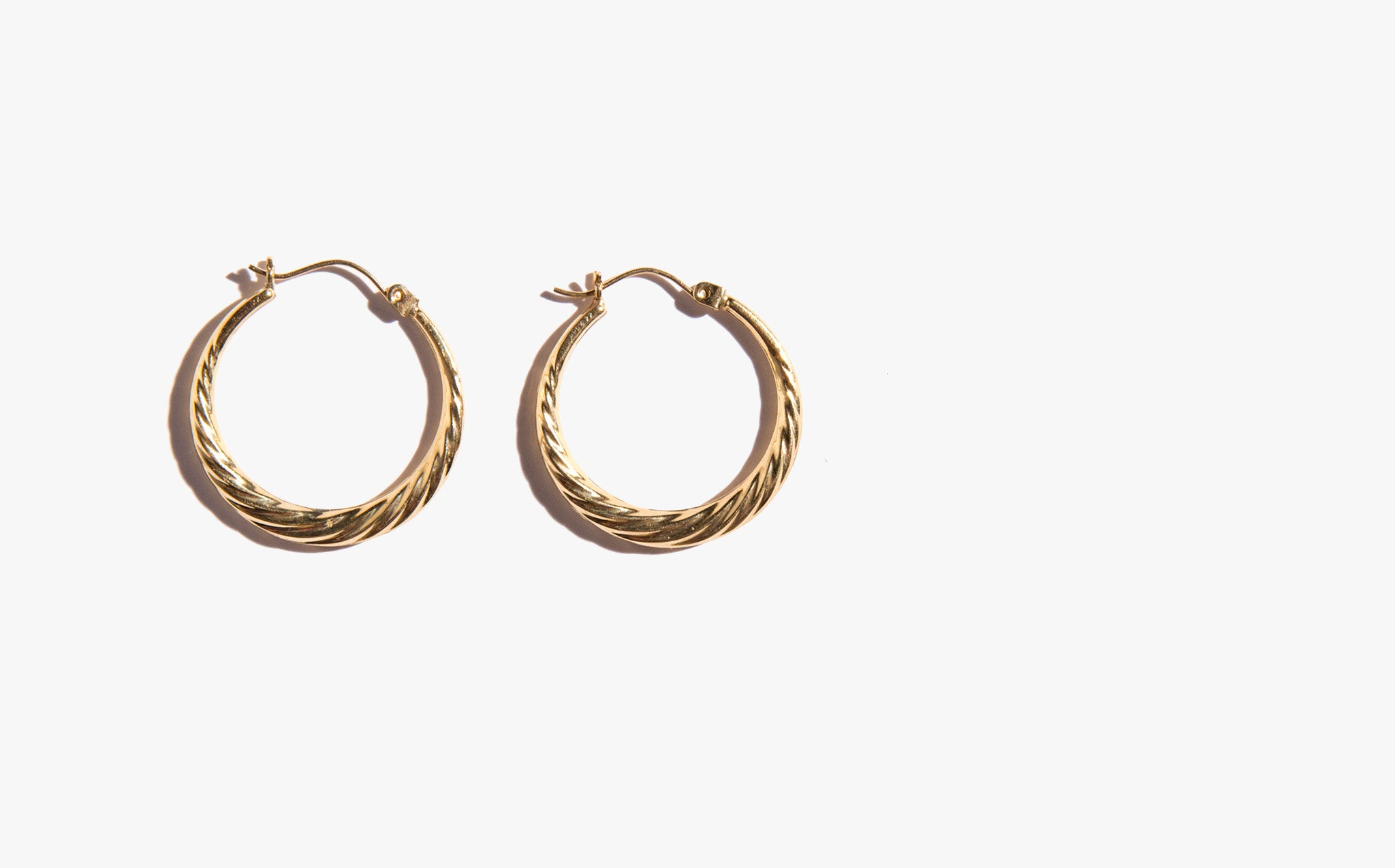 14K Gold Twist Hoops