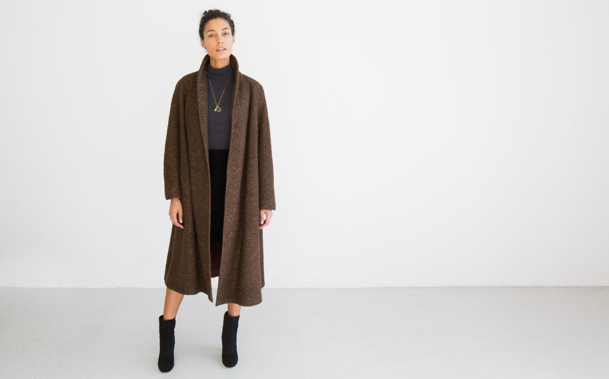 Chestnut Nubby Wool Coat