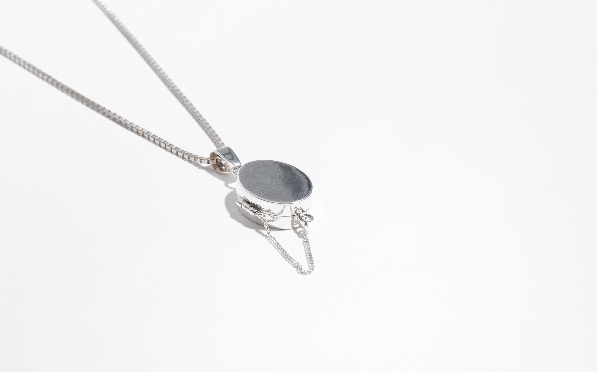 René Habie Oval Sterling Silver Locket Necklace