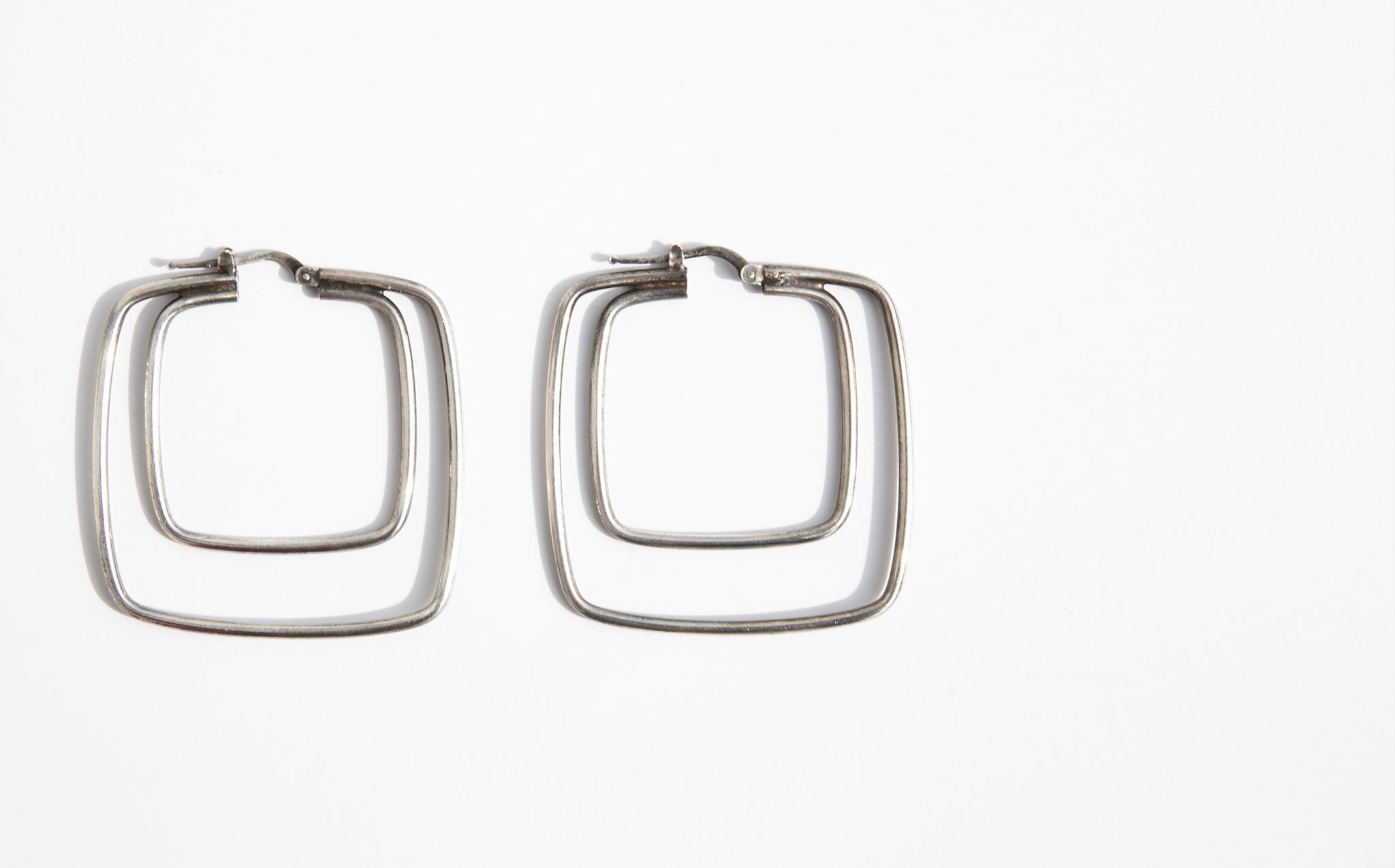 Vintage Sterling Silver Squares Earrings