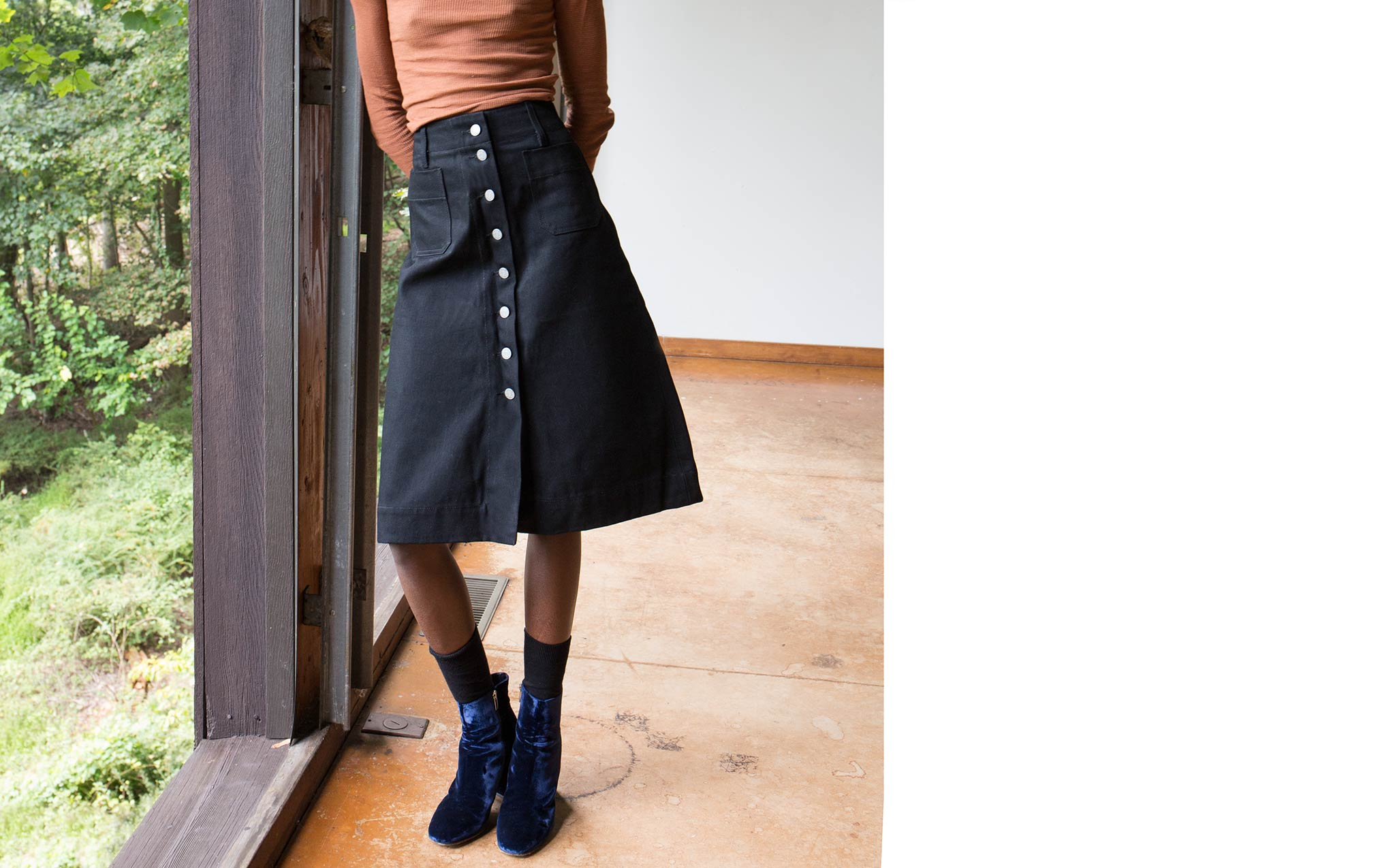 Vivien Ramsay Black Denim Standard Skirt