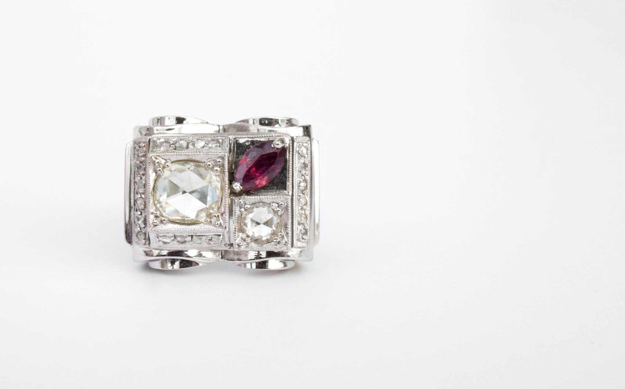 1930's Rose-Cut Diamond and Ruby Ring