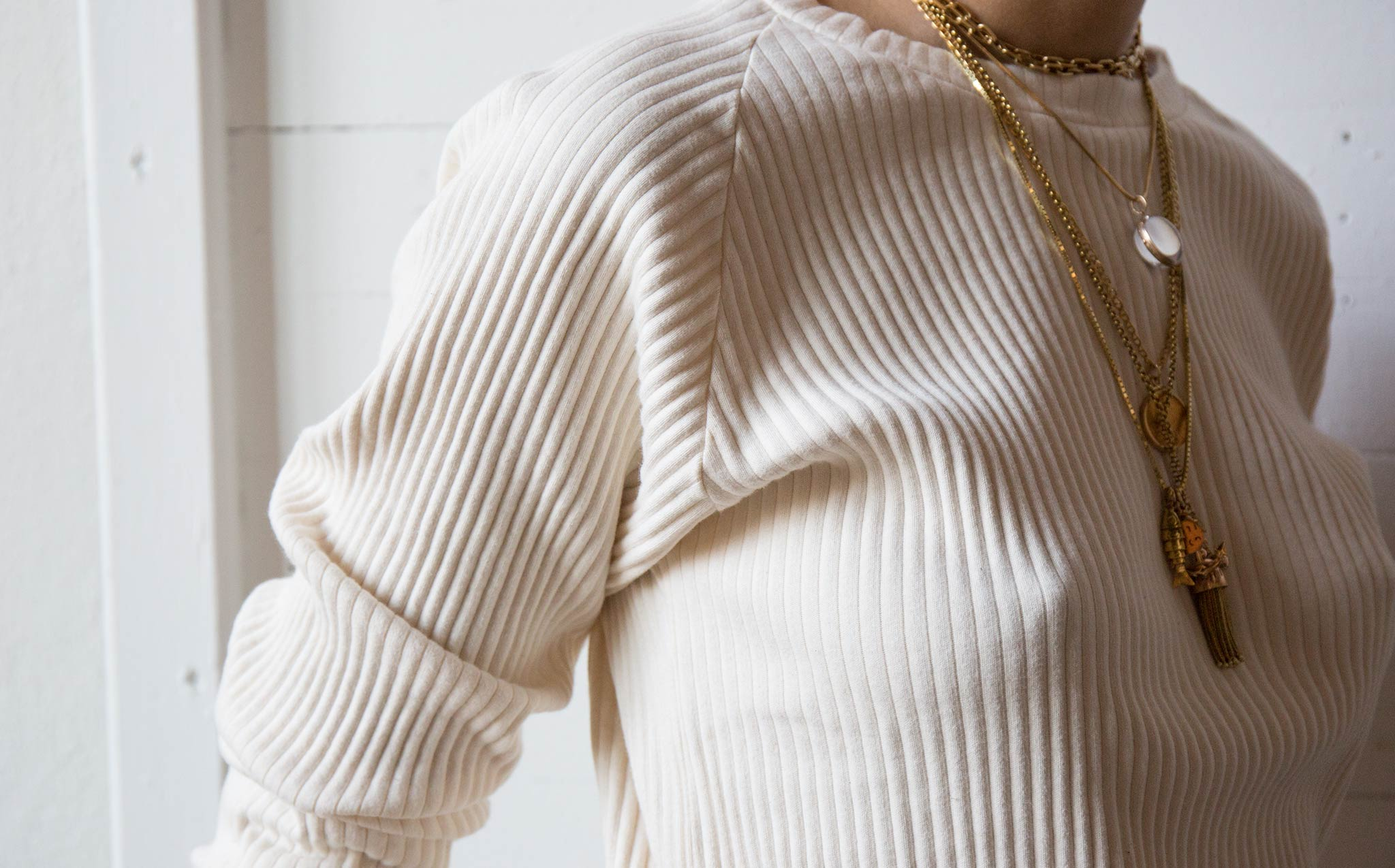 Baserange Off White Ribbed Sweatshirt