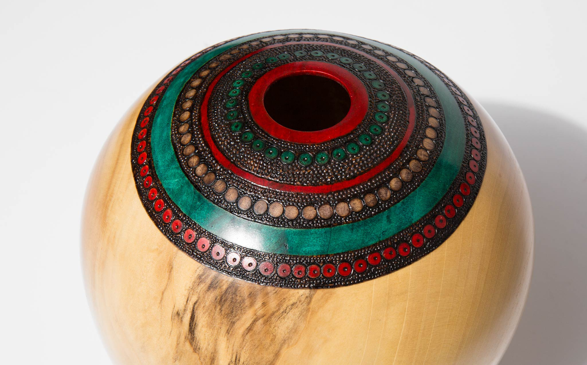 Bruce Perlmutter Hand Lathed Poplar Vessel With Pyrography