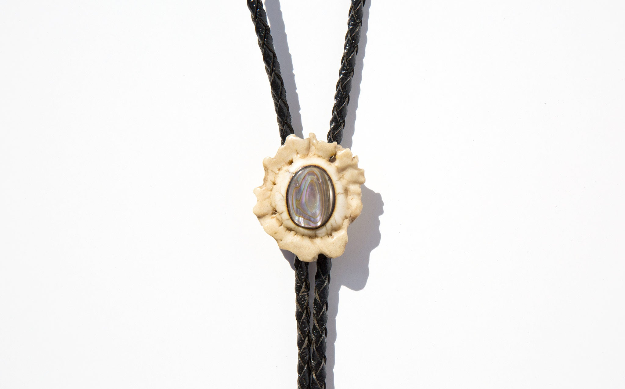 Vintage Bone and Abalone Bolo Tie
