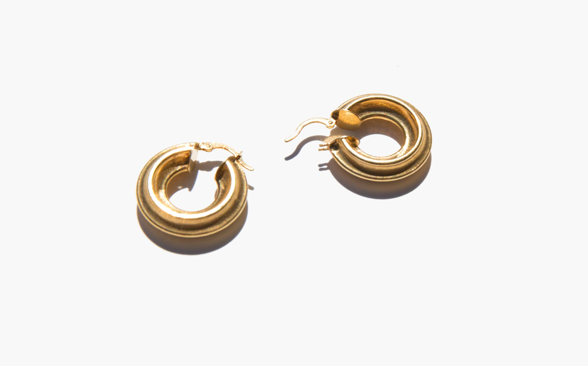 Gold Fluted Hoops