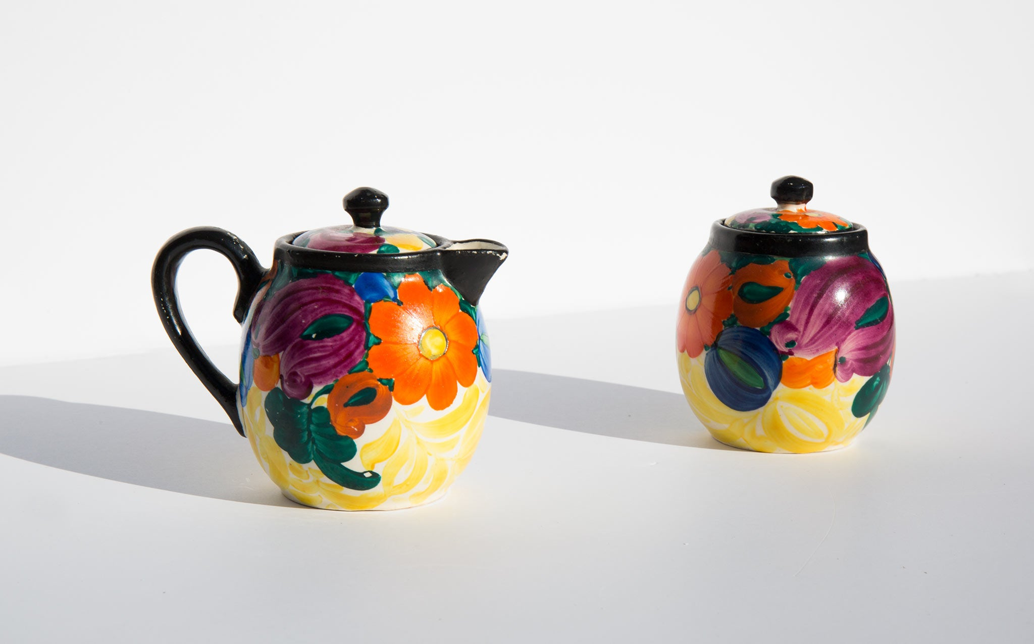 Hand Painted Floral Sugar and Creamer