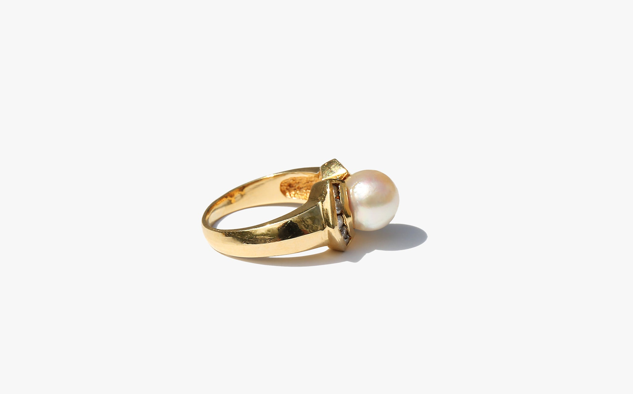 Deco Pearl and Diamond Ring