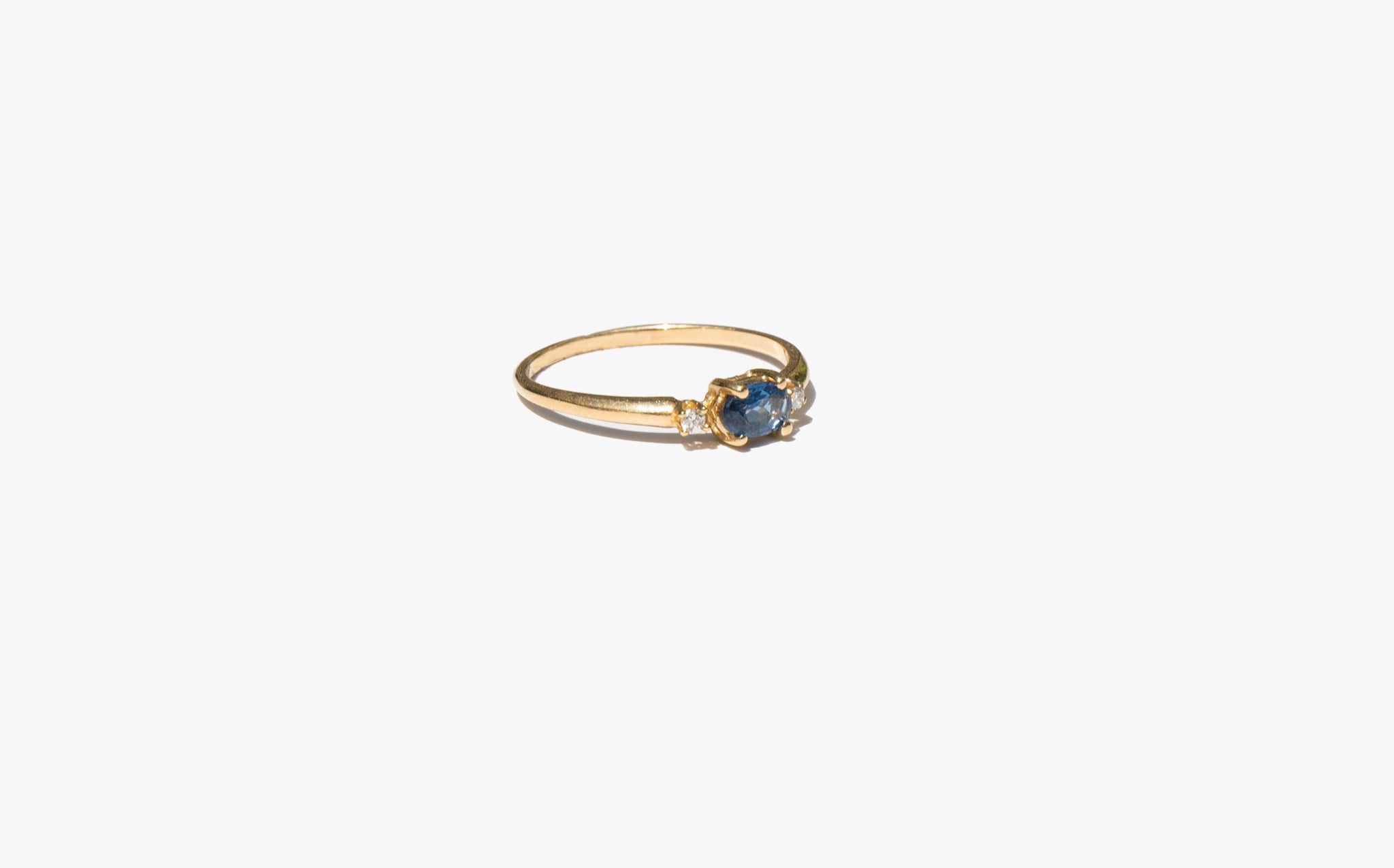 Sapphire and Diamond Sweetheart Ring