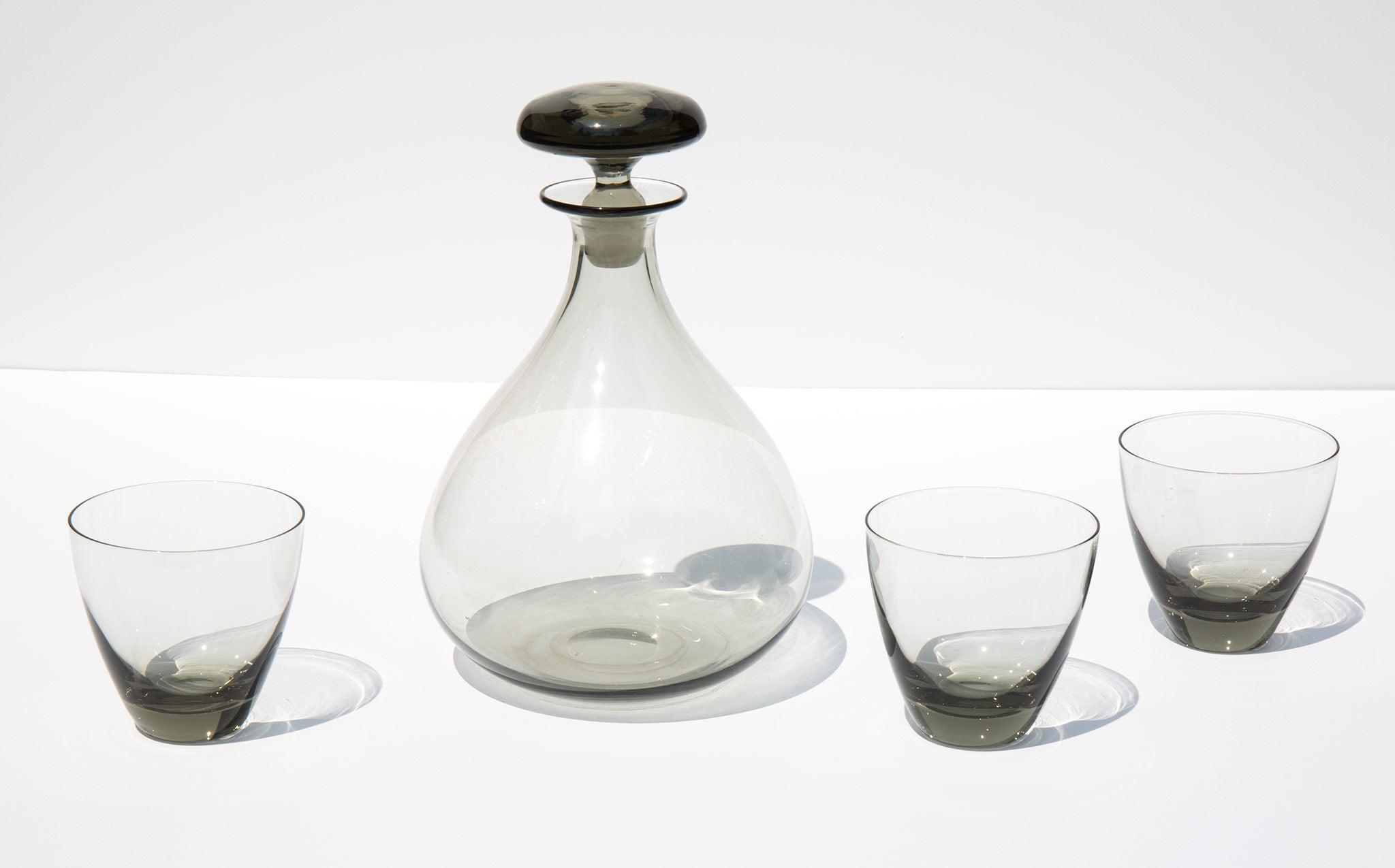 Smoke Glass Decanter with Glasses