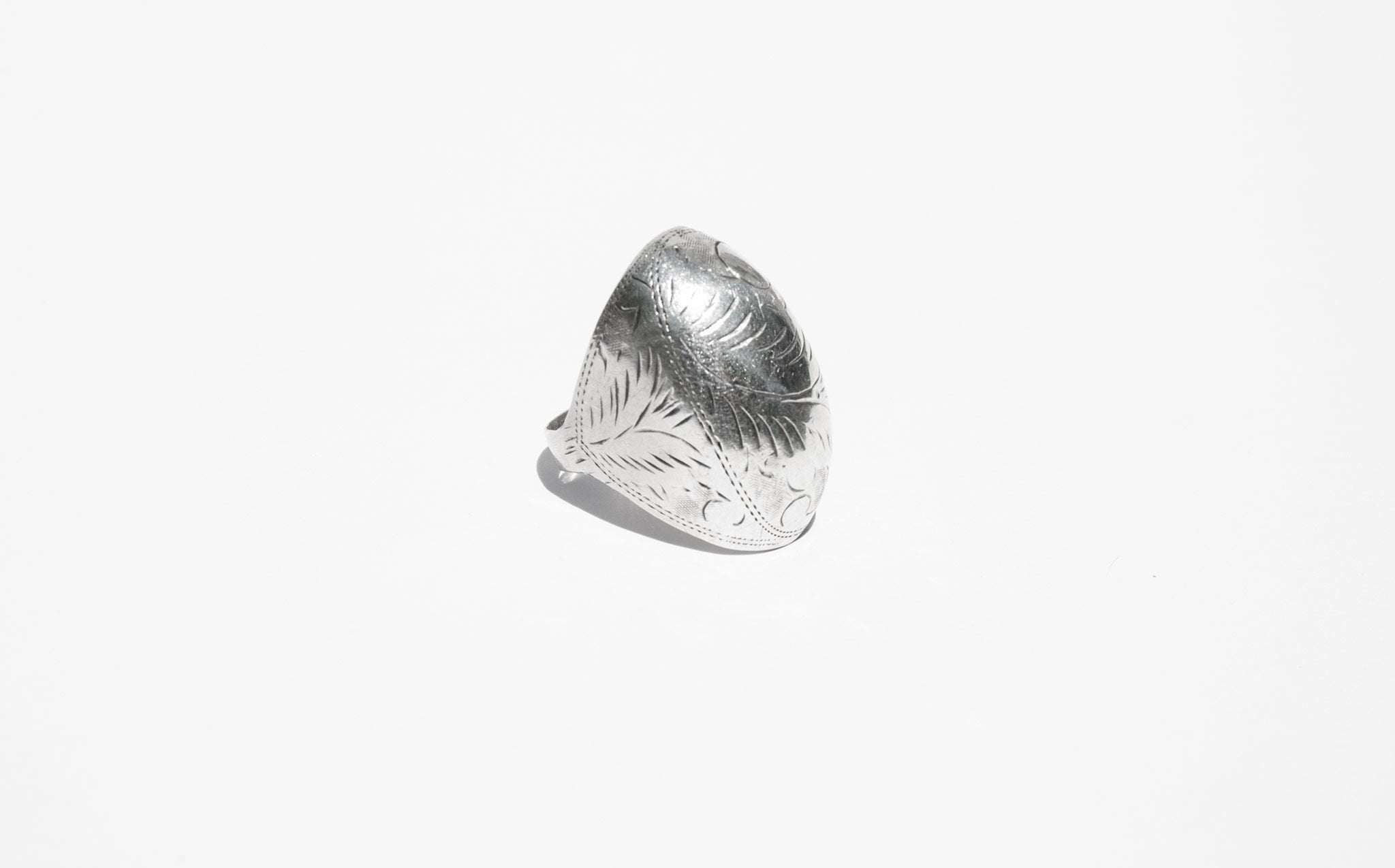 Etched Silver Dome Ring