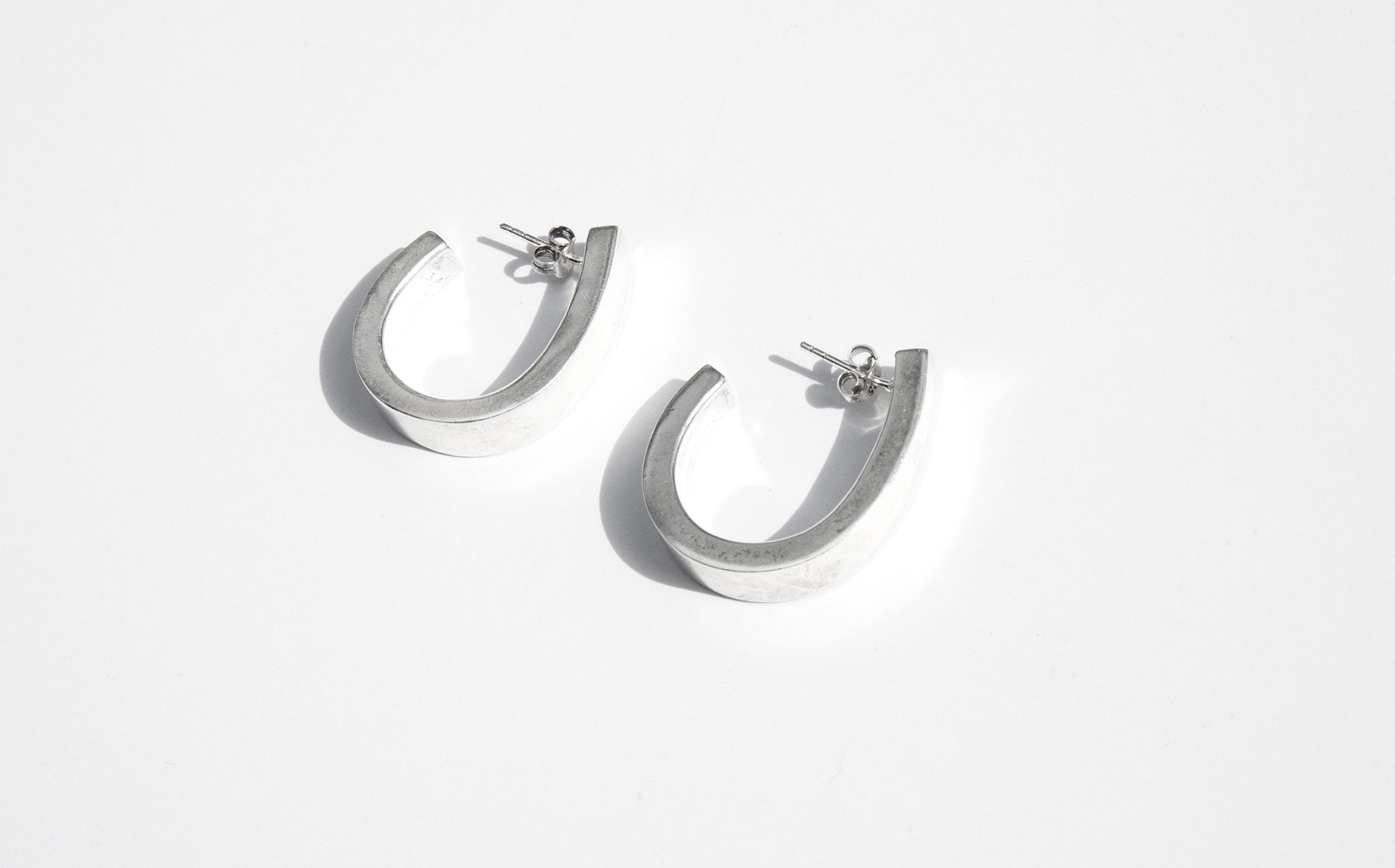 Sculptural Sterling Hoops