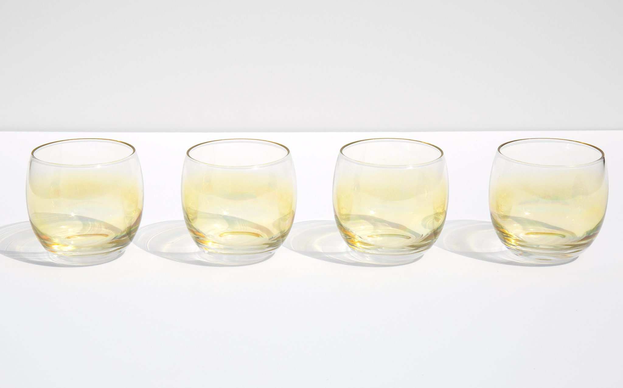 Sunshine Yellow Roly Poly Cocktail Glasses