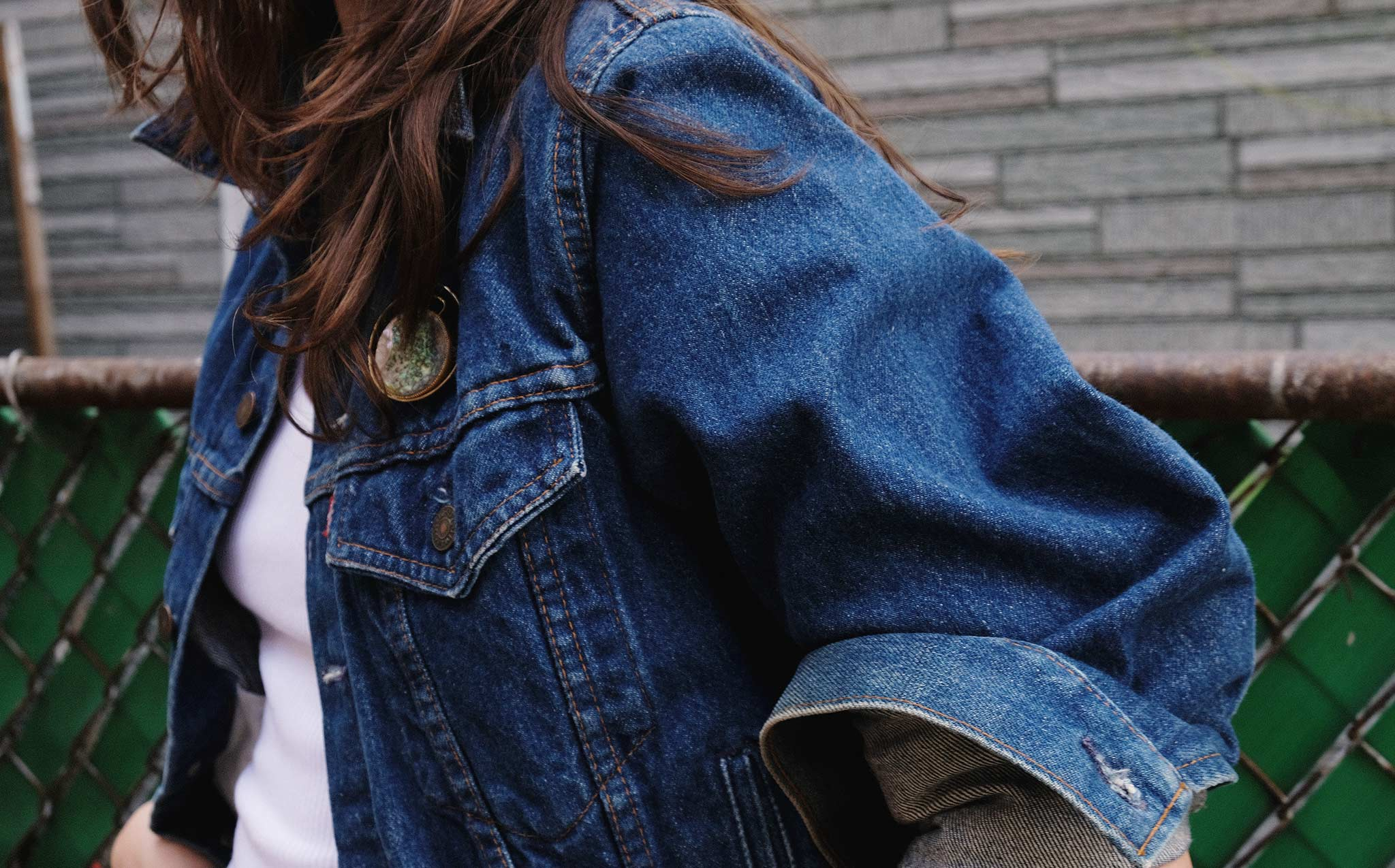 Vintage Levi's Denim Jacket With Abalone Pin
