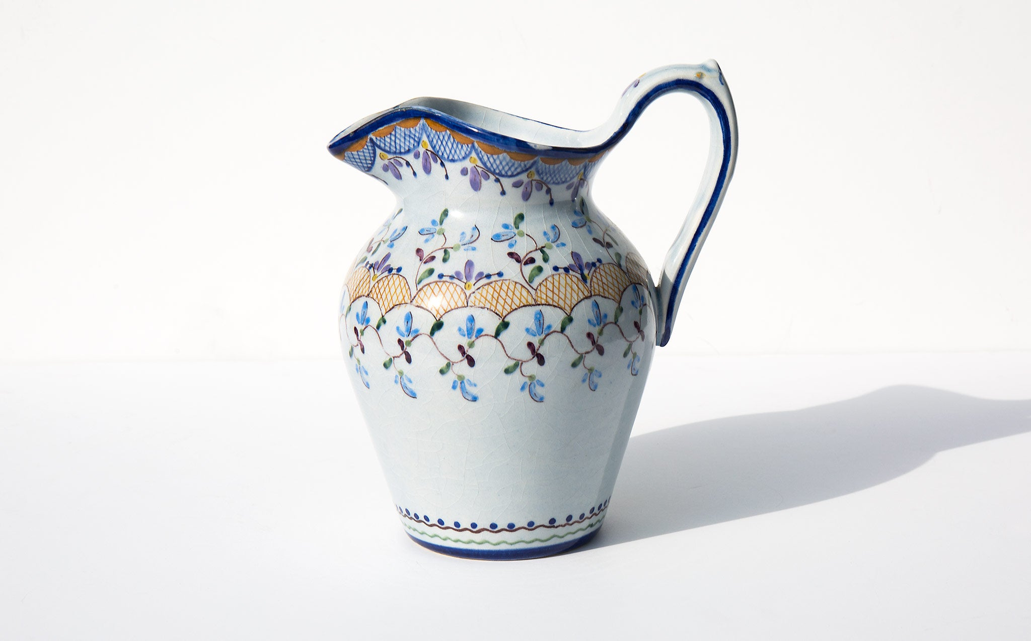 Hand Painted Floral Pitcher