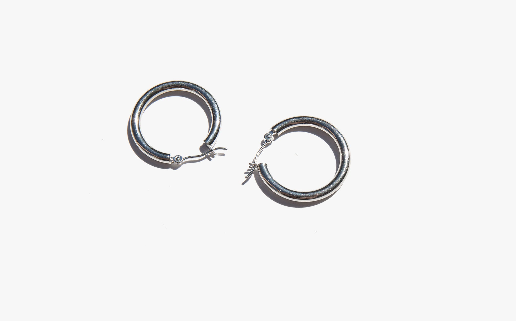 Classic White Gold Hoop Earrings