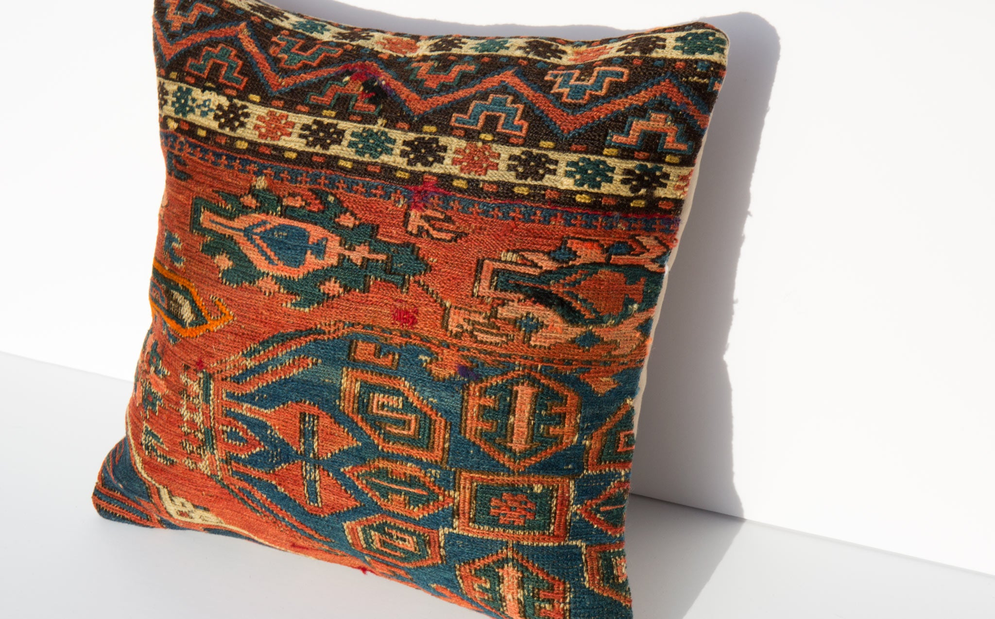Antique Turkish Wool Kilim Throw Pillow