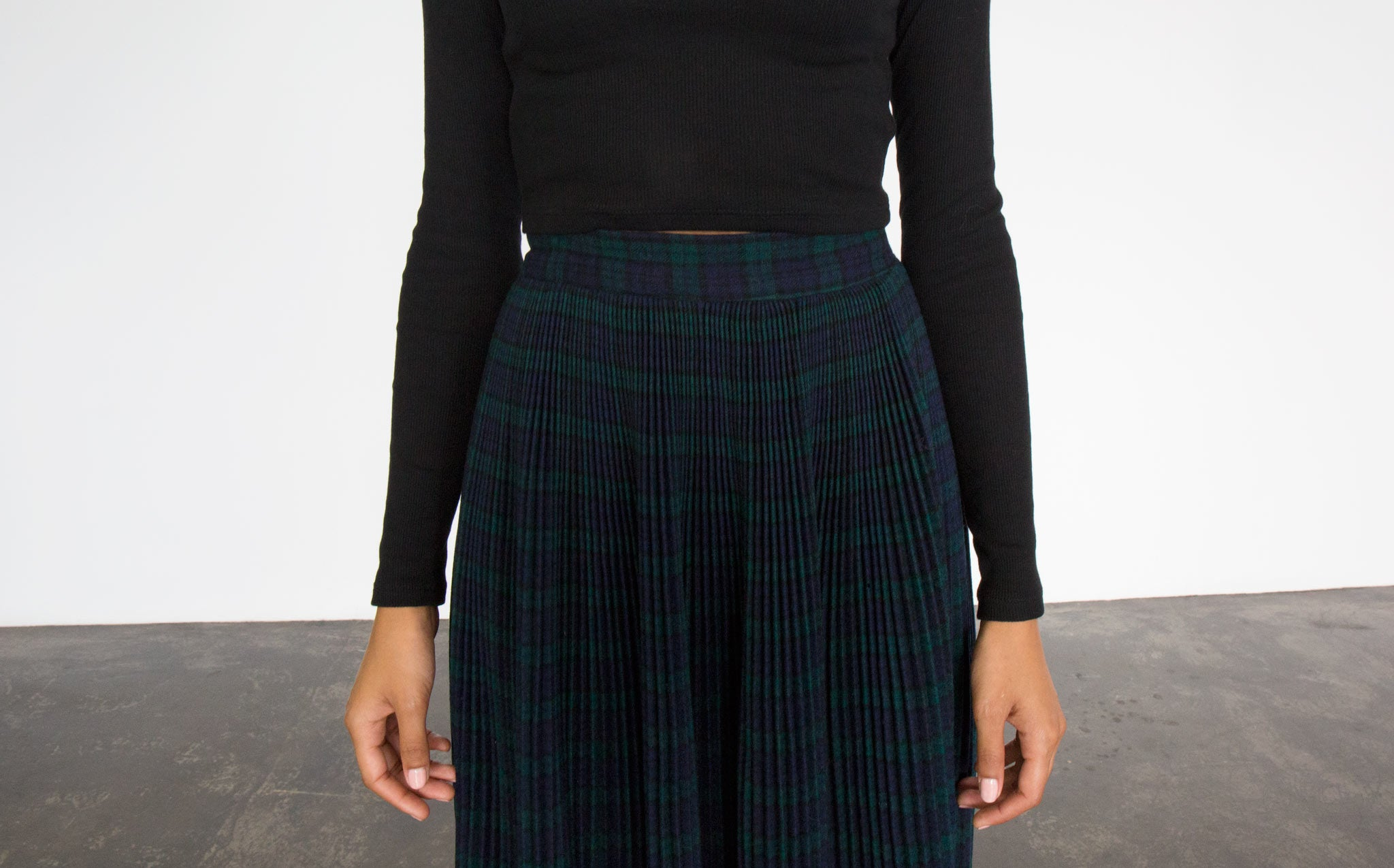Black Watch Tartan Pleated Wool Skirt