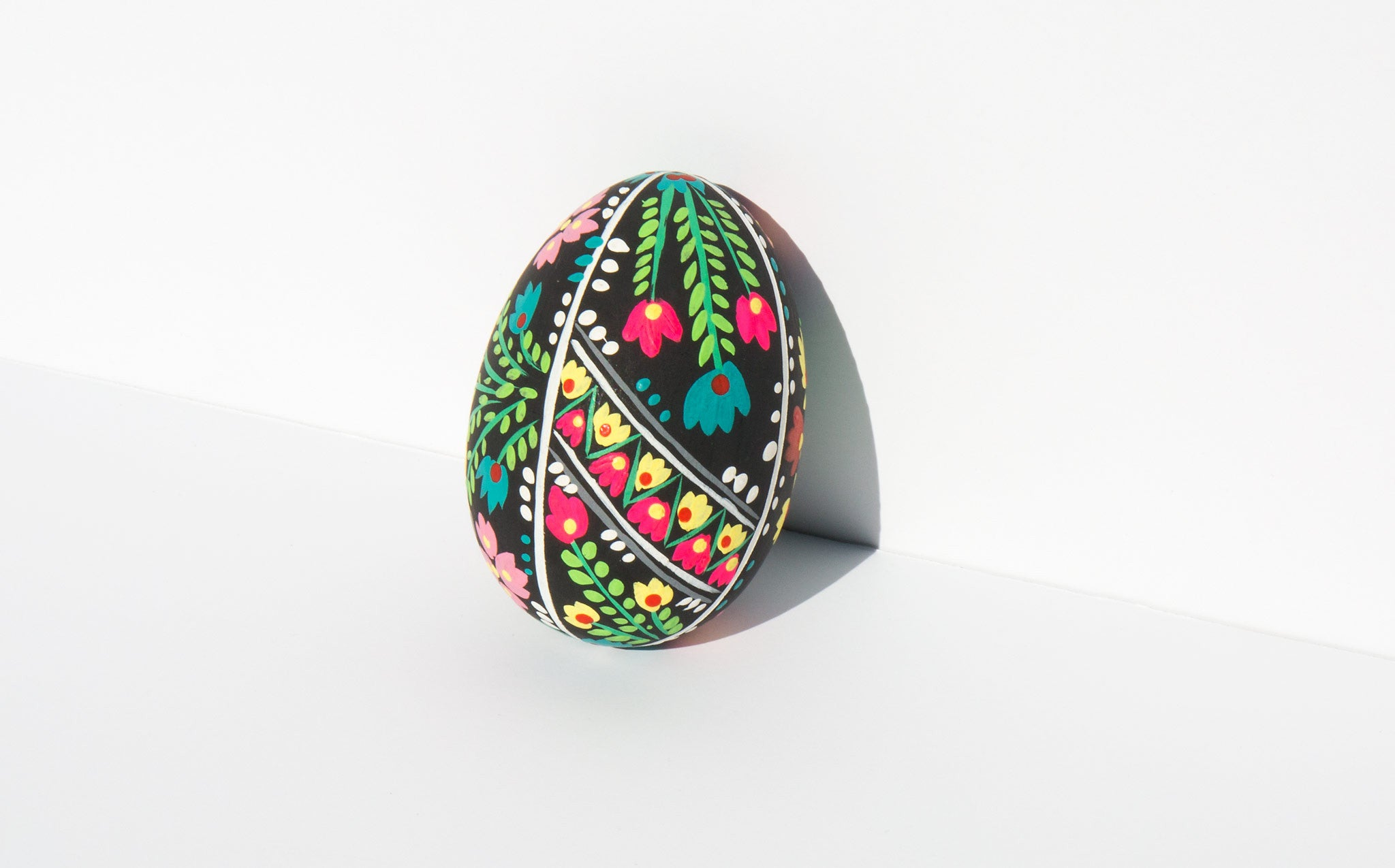 Hand Painted Floral Egg